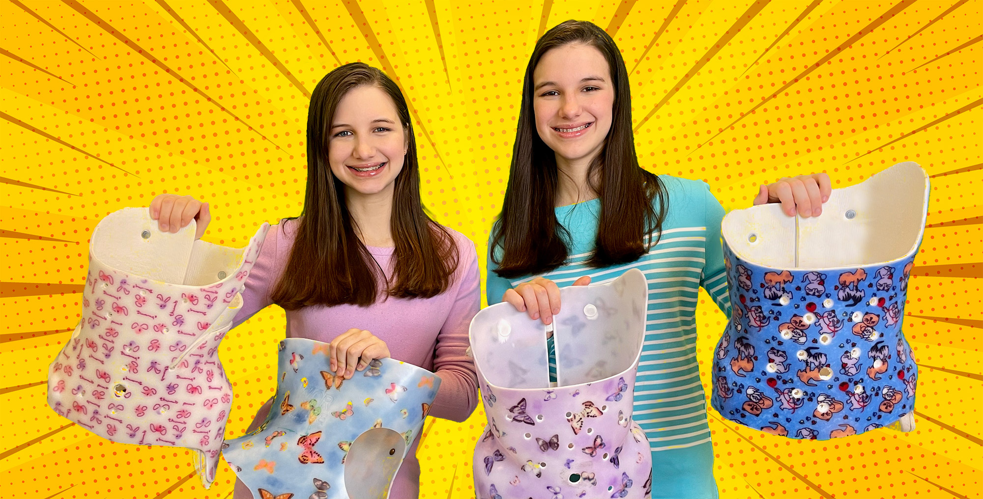 Hadley and Delaney with decorated back braces